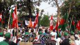 কালো পতাকায় শহিদ মিনার ঢেকে প্রতিবাদ