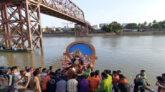 প্রতিমা বিসর্জনের মধ্য দিয়ে শেষ হলো শারদীয় দুর্গোৎসব