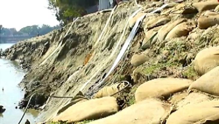 সুনামগঞ্জে ধসে পড়ছে ডাম্পিং বাঁধ